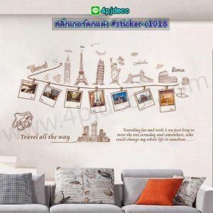 Sticker-c1018 สติ๊กเกอร์ลาย Travel all the way