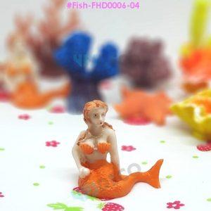 FHD0006-04 เรซิ่นแต่งตู้ปลา นางเงือกสีส้มแห่งท้องทะเล