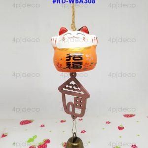 HD-WBA308 กระดิ่งลม/โมบายลม ลายแมวกวักทรัพย์สมบูรณ์ สีส้ม